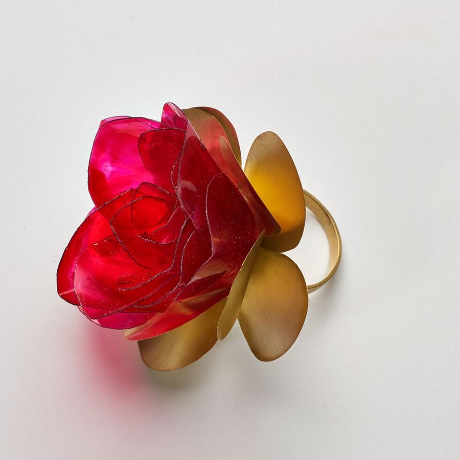 Anel Rosa vermelha Pet .