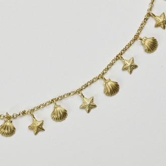 Colar Chuva Mix   Conchas e Estrelas do Mar