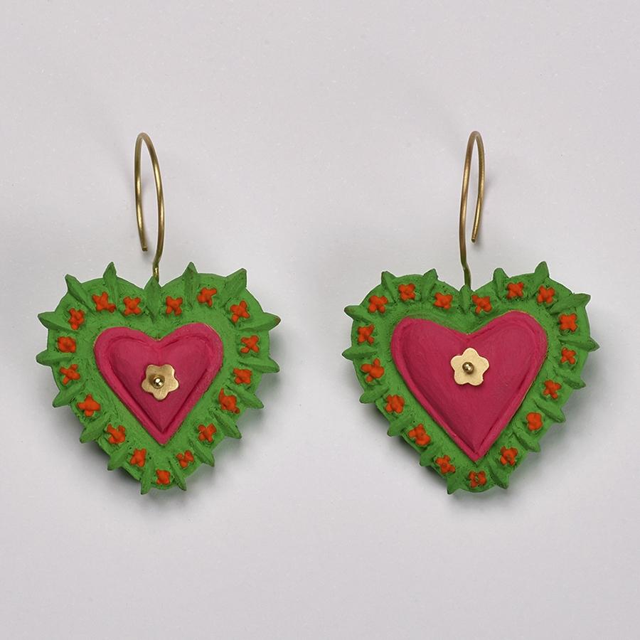 Brinco Coração Milagros Verde e Rosa