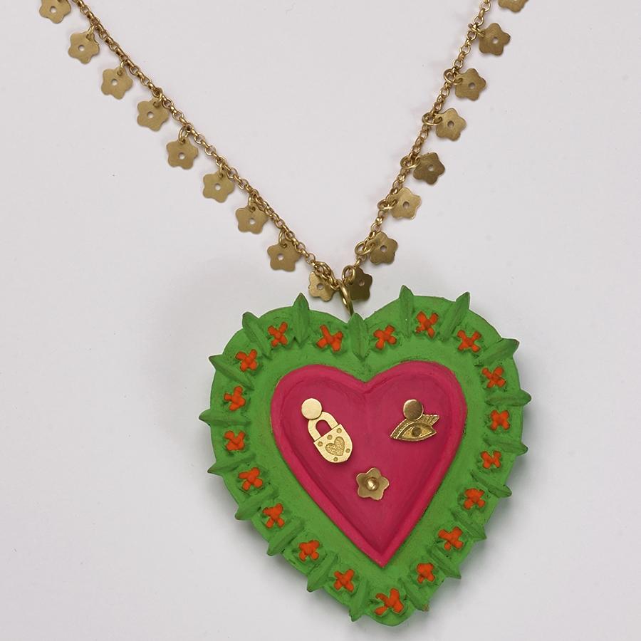 Colar Chuva de Florzinhas Coração Verde e Rosa