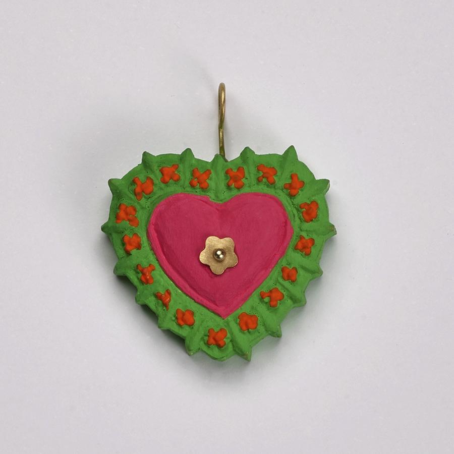 Pingente Coração Milagros Verde e Rosa